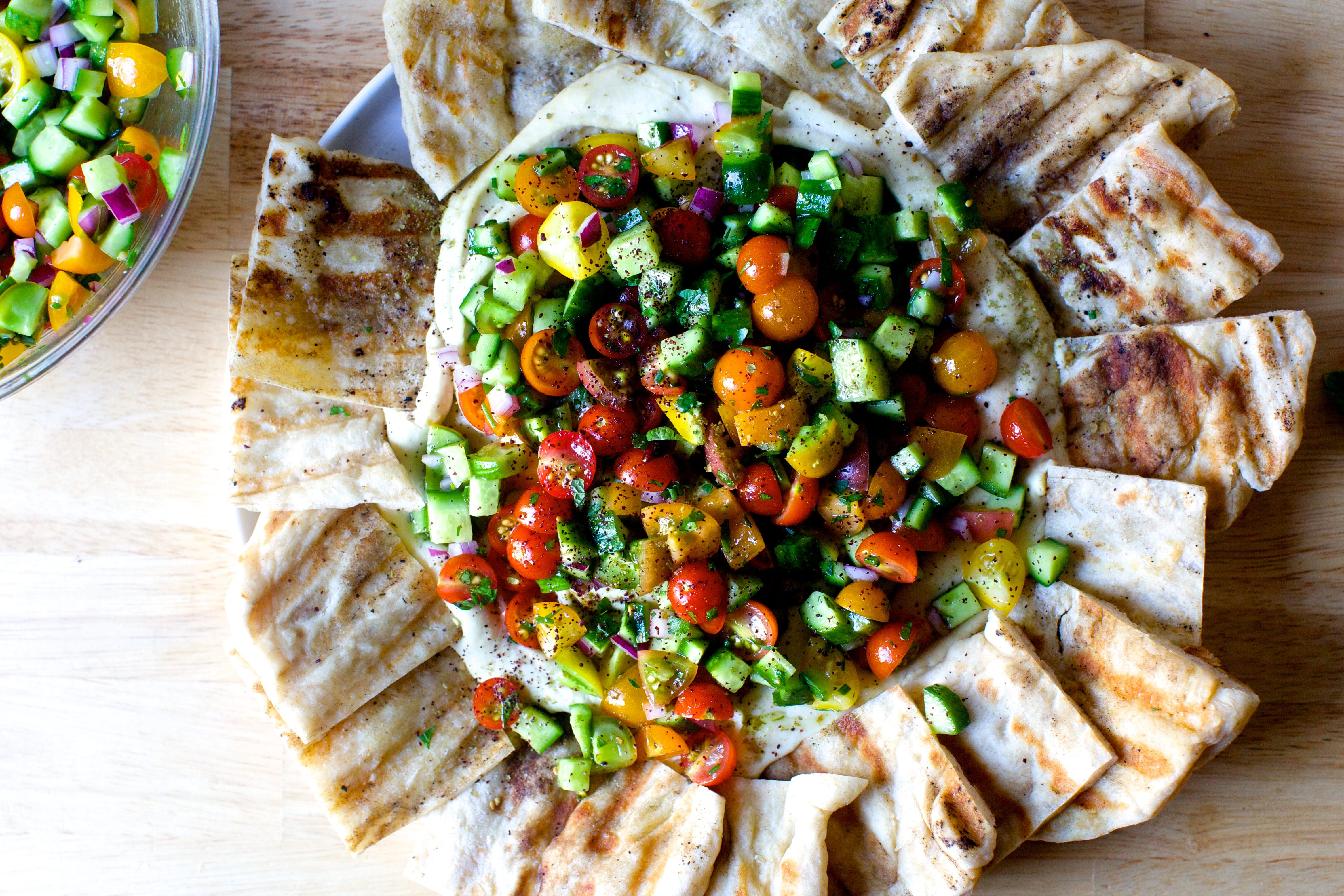 Hummus Heaped With Tomatoes And Cucumbers Smitten Kitchen